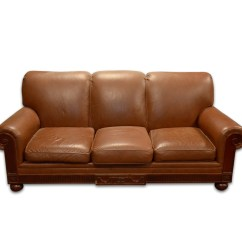 Hickory Chair Leather Couch Lazy Boy Chairs Recliners Contemporary Brown Sofa By Ebth