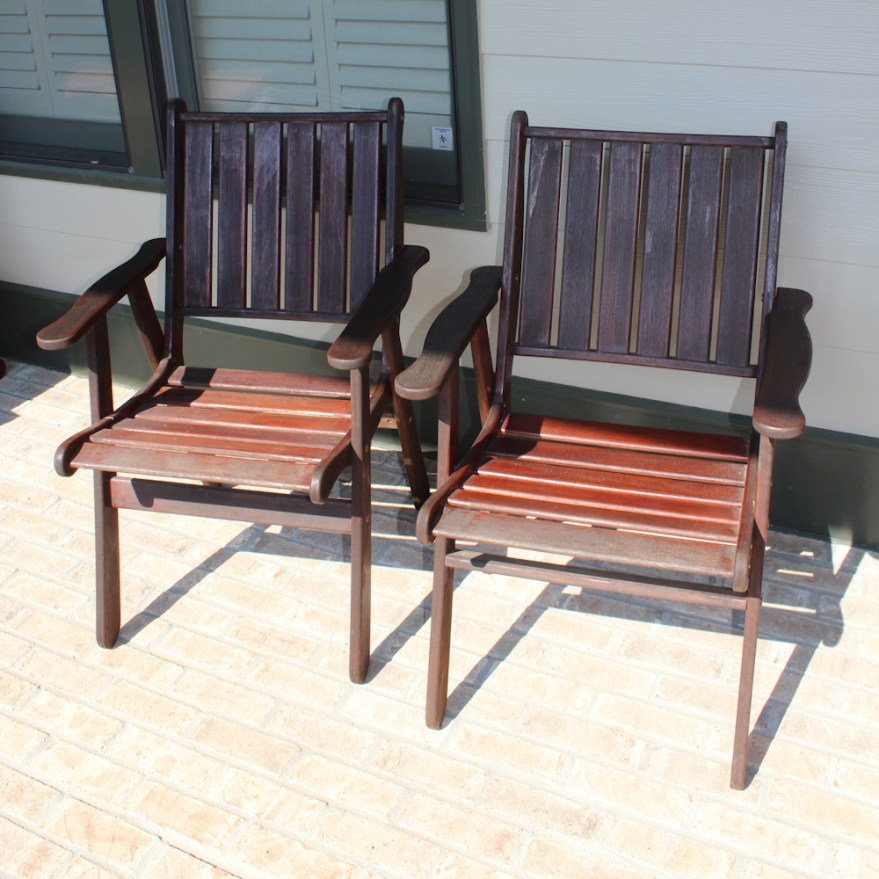 Jensen Jarrah Teak Patio Chairs Ebth