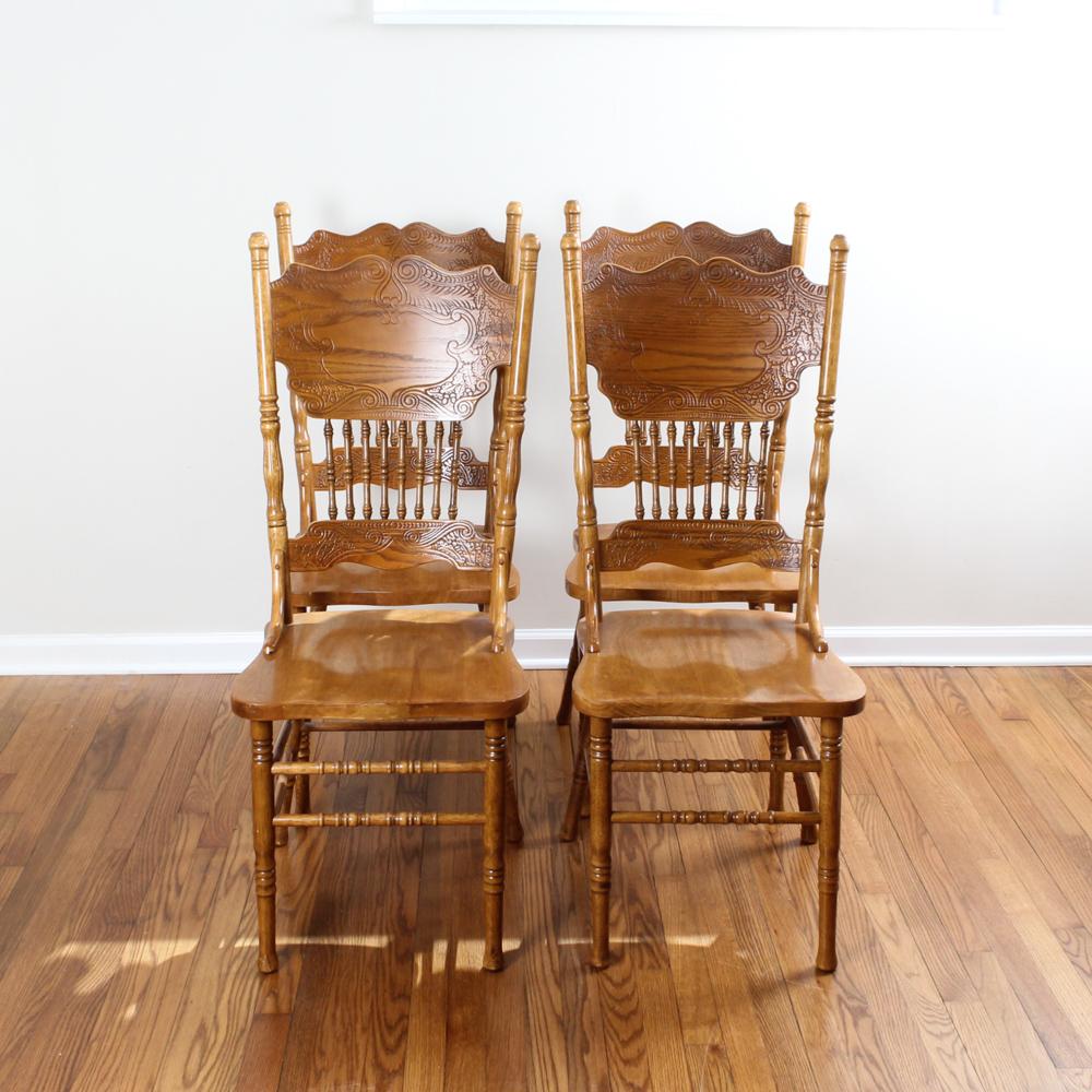 vintage oak dining chairs craigslist office press back ebth