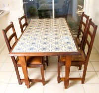Spanish Tile Top Dining Table With Chairs : EBTH