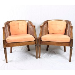 Mid Century Modern Cane Barrel Chairs Deck Chair Book Stand Pair Of Back Ebth