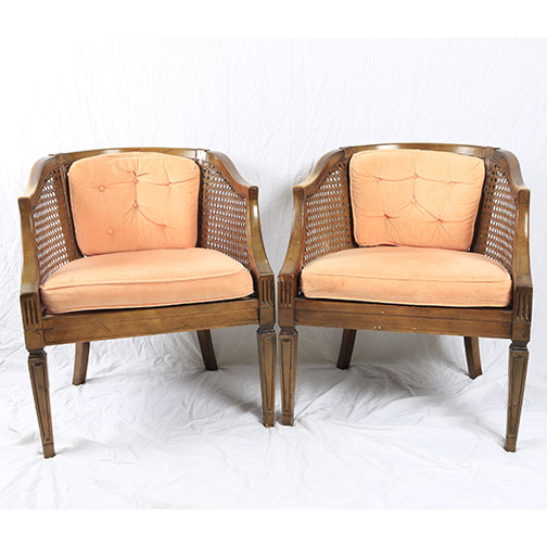 mid century cane barrel chair baby bouncer pink pair of back chairs ebth