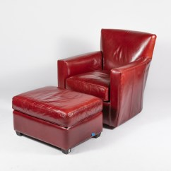 Red Leather Chair And Ottoman Covers Event Crate Barrel Ebth
