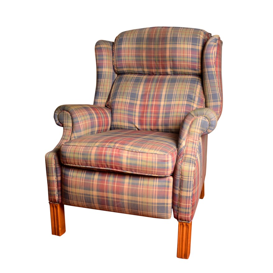 Plaid Reclining Wingback Chair  EBTH