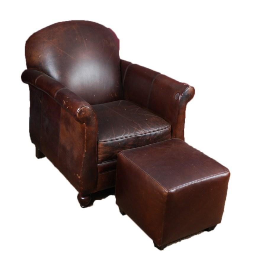 Bernhardt Leather Club Chair With Ottoman  EBTH