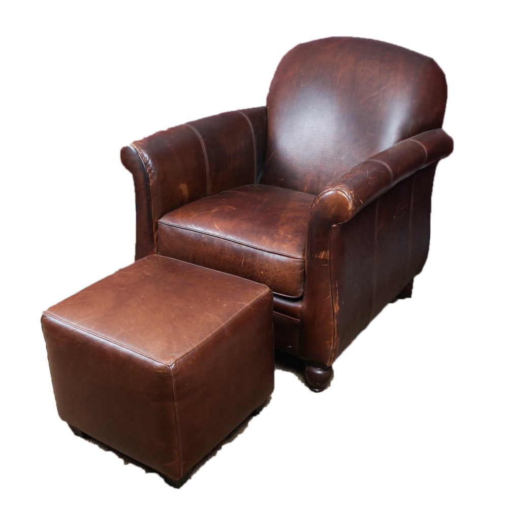 bernhardt brown leather club chair walgreens power lift chairs with ottoman ebth