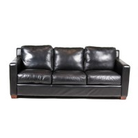 Thomasville Black Leather Sofa : EBTH