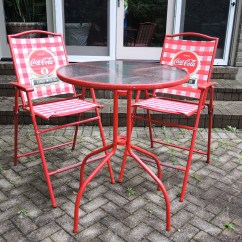 Coca Cola Chairs And Tables Chair With Stool Karachi Red Patio Bistro Table Set Ebth