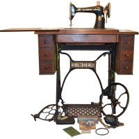 Vintage Singer Sewing Machine With Cabinet and Parts   EBTH