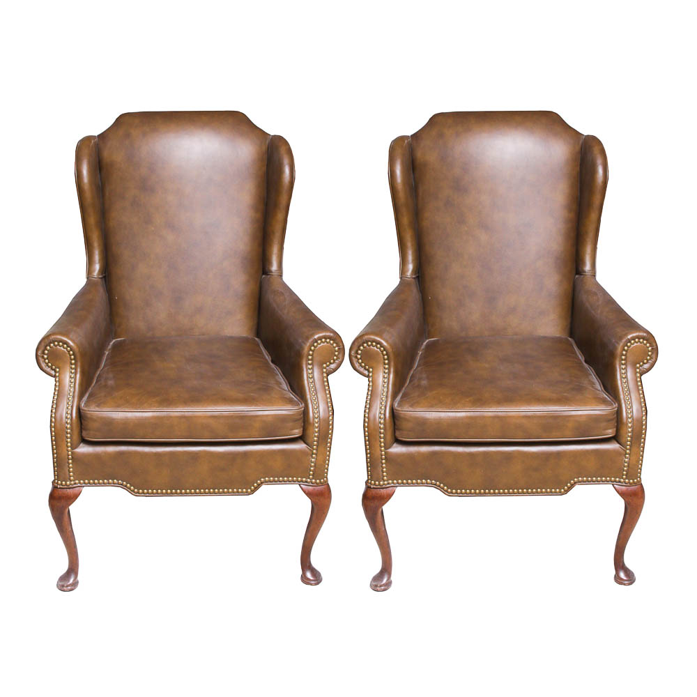 leather wing chairs french bedroom chair nz queen anne style brown by leathercraft ebth