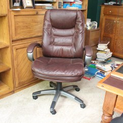 Lane Office Chair Leather Linen Wingback Dark Brown By Ebth
