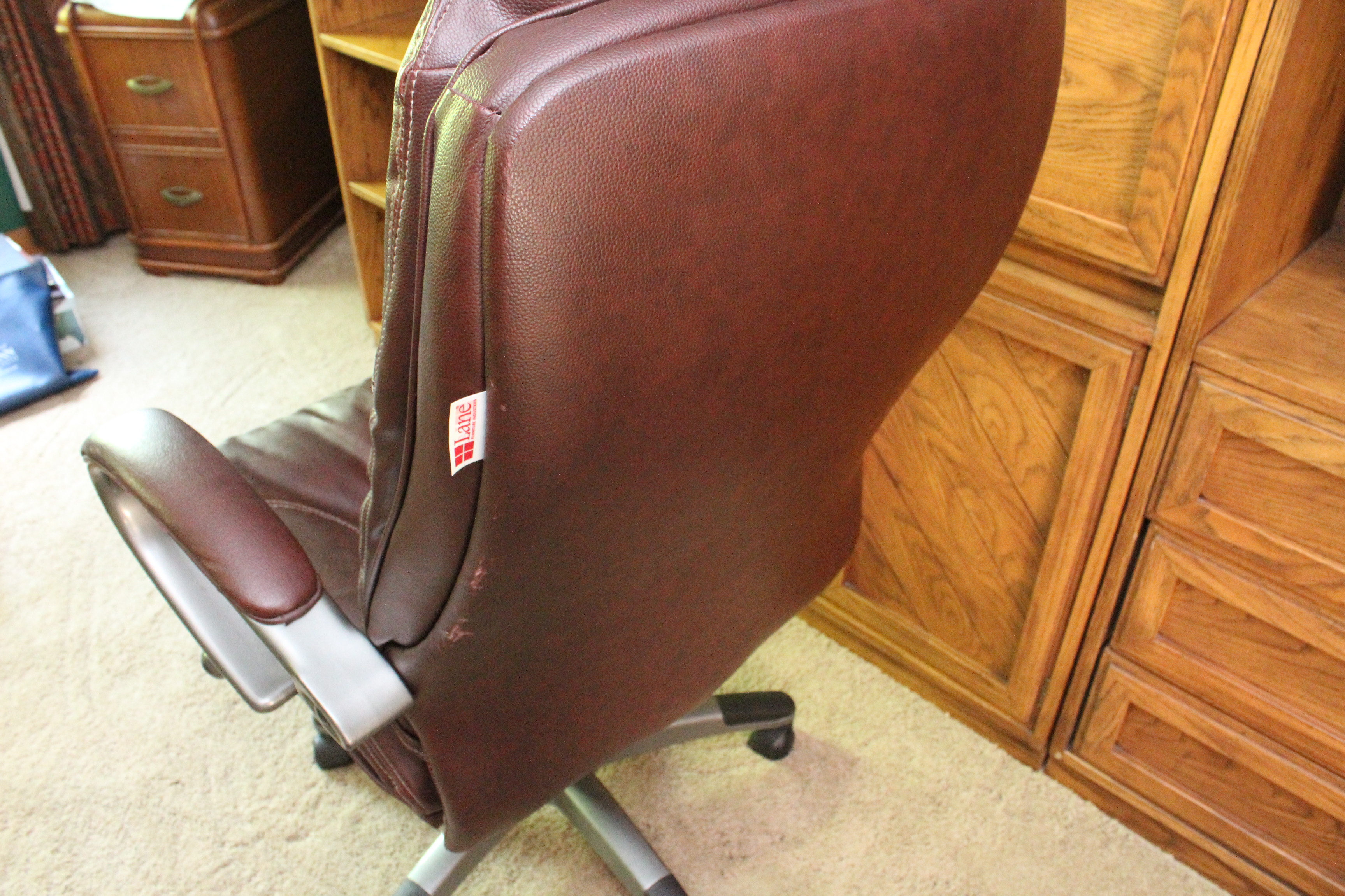 lane office chair leather bar height patio chairs lowes dark brown by ebth