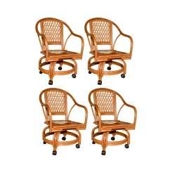 Chairs On Casters Target Armless Accent Set Of Vintage Rattan Ebth