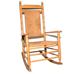 Woven Rocking Chair Gray Folding Chairs With Rush Back And Seat Ebth