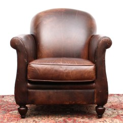 Bernhardt Brown Leather Club Chair Childrens And Table Set By Ebth