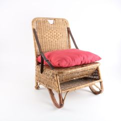Canoe Chair Leather Club With Ottoman Portable Wicker Camping Seat Storage Ebth