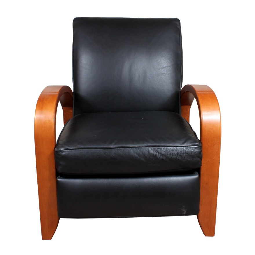 restoration hardware contemporary wood and faux leather recliner