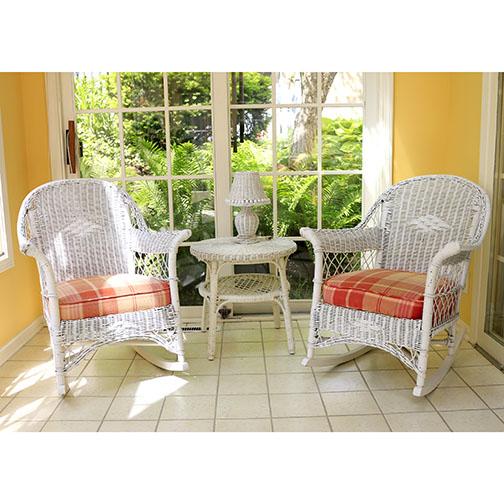 white wicker patio set ebth