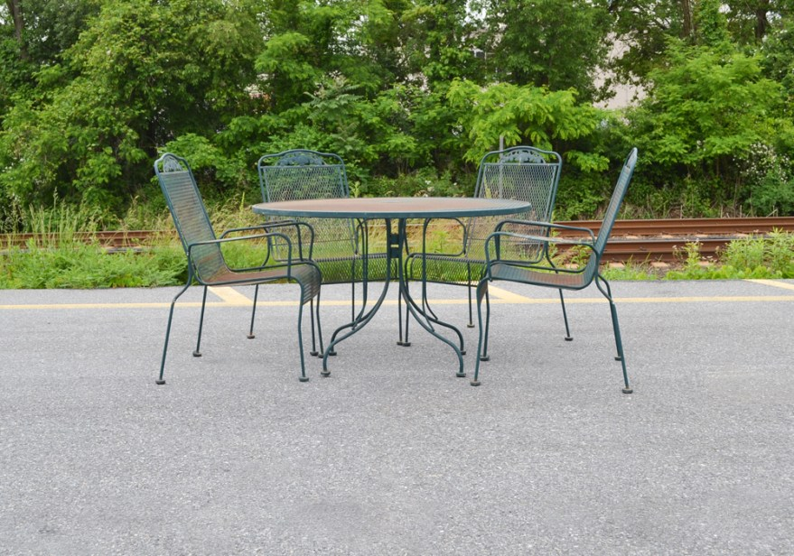 Wrought Iron Sunbeam Patio Table And Chairs Ebth