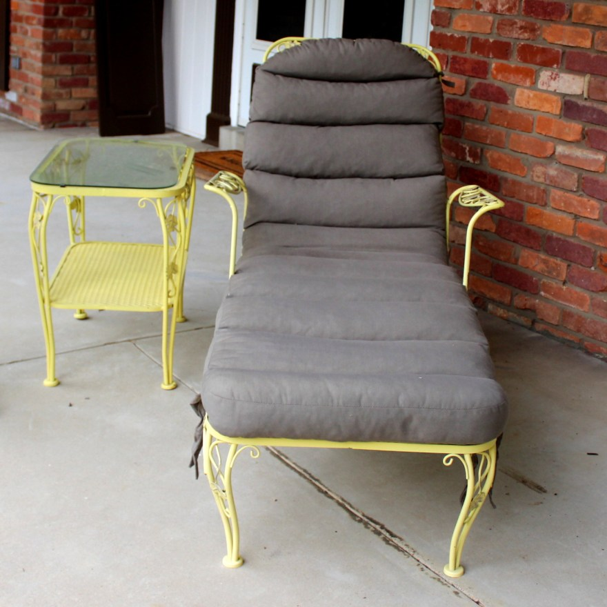Vintage Meadowcraft Wrought Iron Lounge Chair And Table Ebth