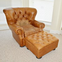 Restoration Hardware Leather Wing Chair and Ottoman : EBTH