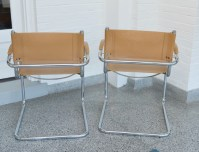 Pair of Mid Century Modern Faux Leather and Chrome Chairs ...