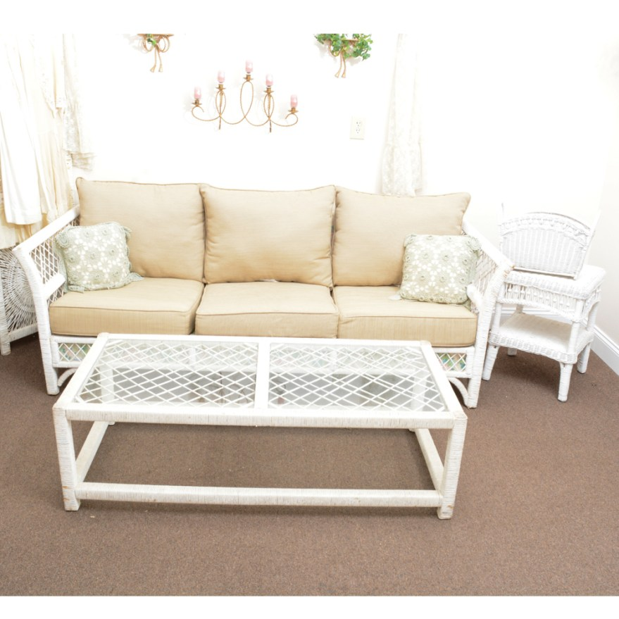 Vintage Wicker Sofa and Coffee Table Set