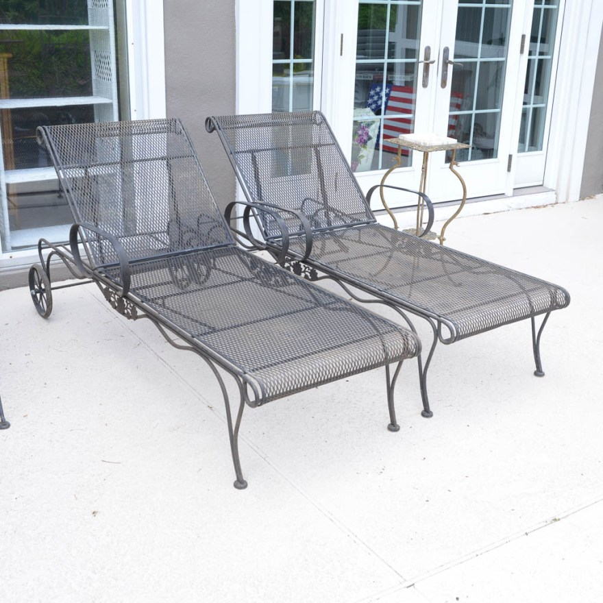 Pair of Woodard Wrought Iron Chaise Lounge Patio Chairs