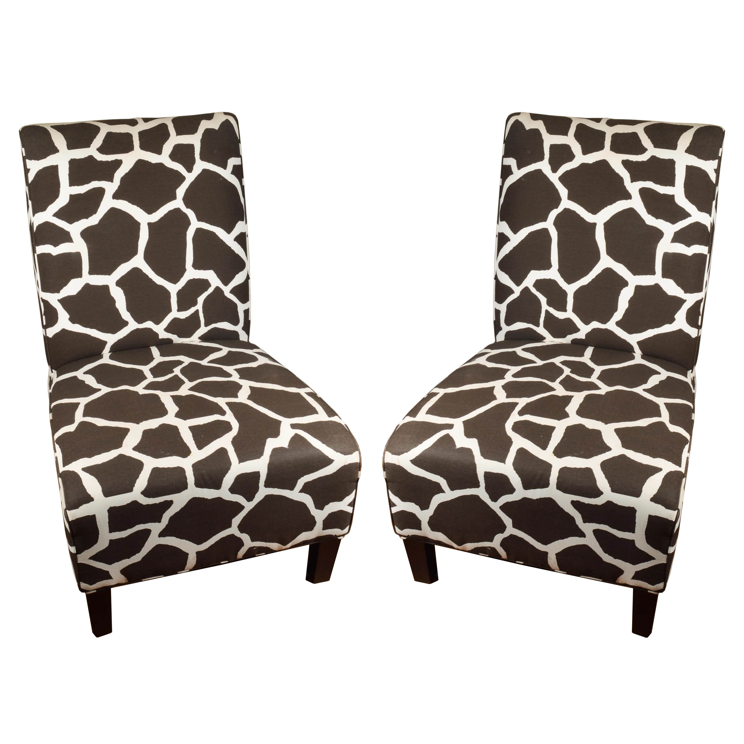 giraffe print chair childrens desk and set pink pair of arhaus furniture slipper chairs ebth