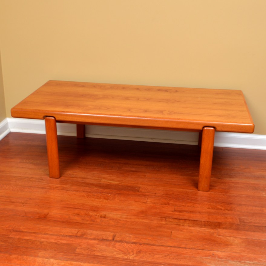Danish Modern Solid Teak Coffee Table Trioh Ebth