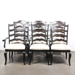 Distressed Black Dining Chairs Stool Chair Revit Kincaid Ladder Back Ebth