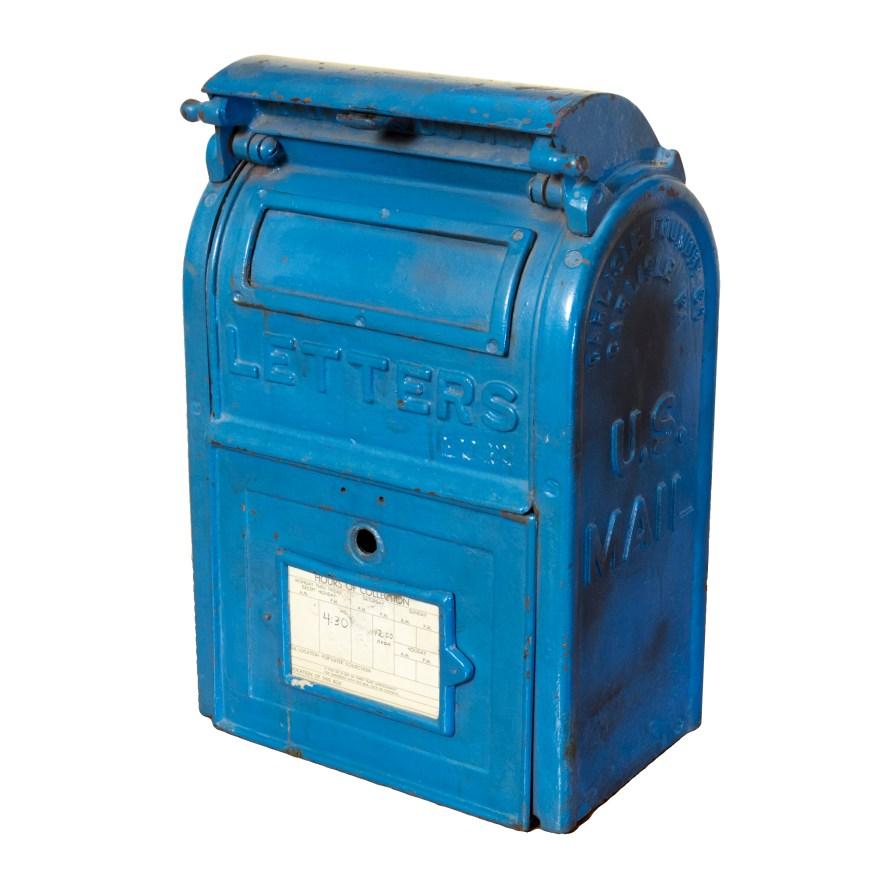 Vintage Blue Cast Iron U. Post Box Ebth