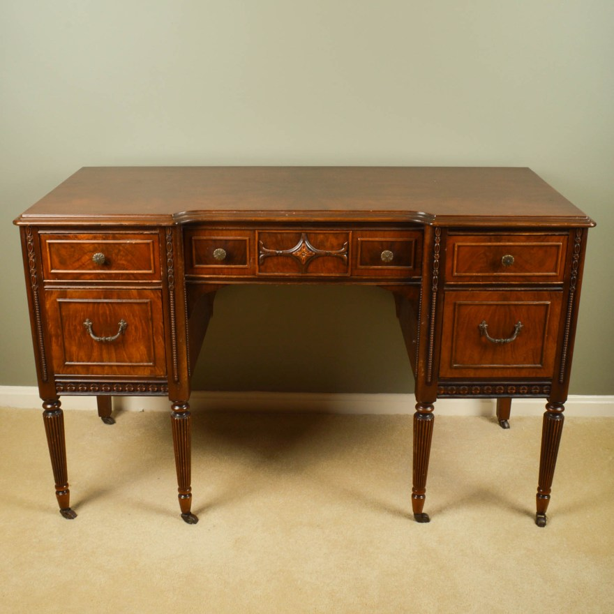 Vintage Federal Style Walnut Writing Desk Ebth
