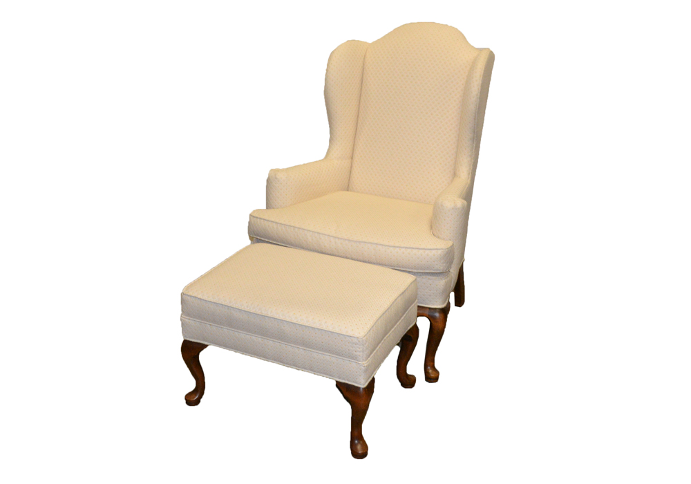 ethan allen wingback chairs wicker living room chair with ottoman ebth