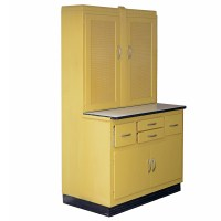 Mid-Century Yellow Painted Kitchen Cabinet by Keystone : EBTH