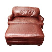 Overstuffed Leather Chair with Ottoman by Charles Stewart ...