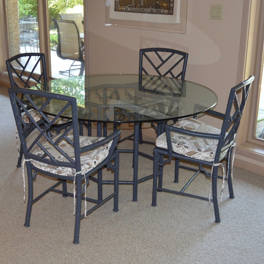 Vintage Meadowcraft Faux Bamboo Table And Chairs Ebth