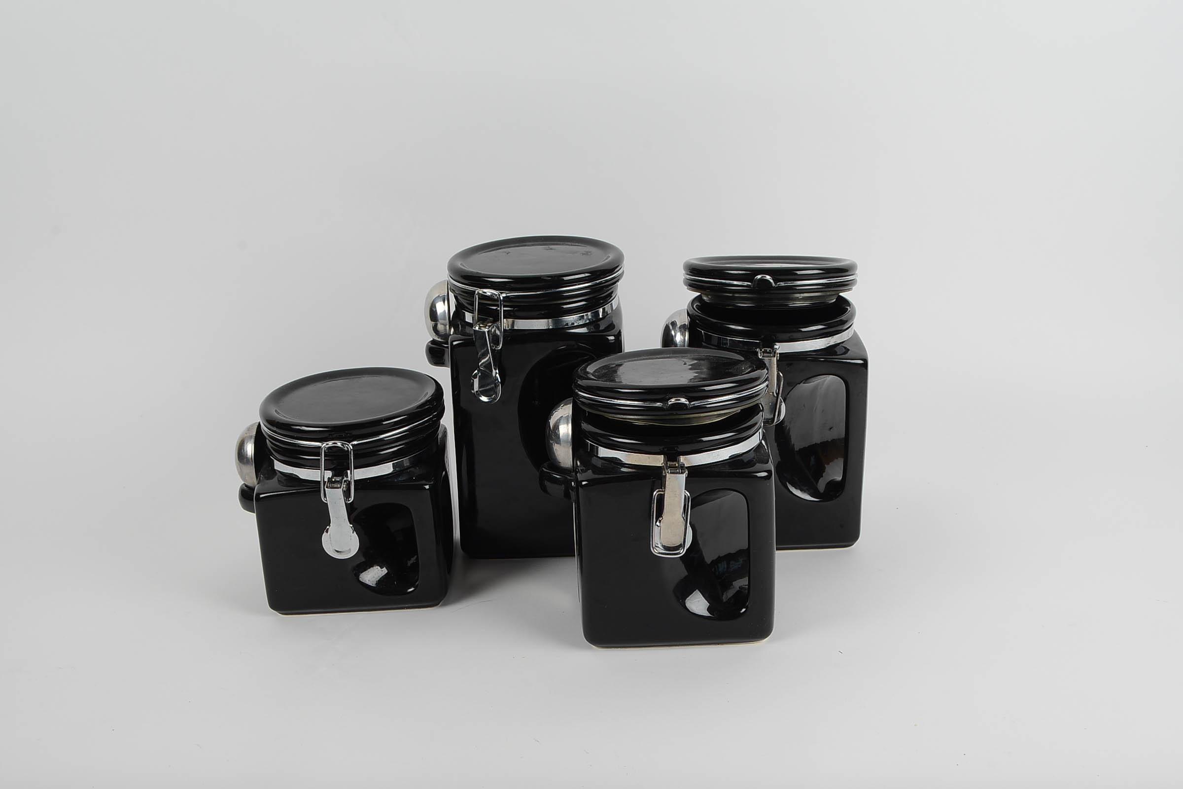 Black Ceramic Kitchen Canister Sets