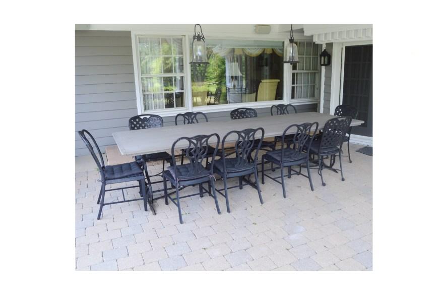 Large Vintage Black Wrought Iron Base Patio Table Ebth