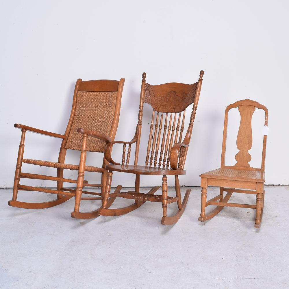 woven rocking chair cloth high vintage wood and chairs ebth