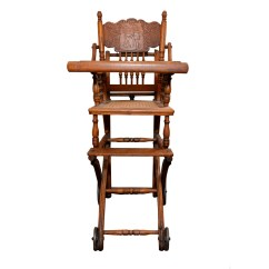 Antique Wooden High Chair Recliner For Sale With Rattan Bottom Ebth