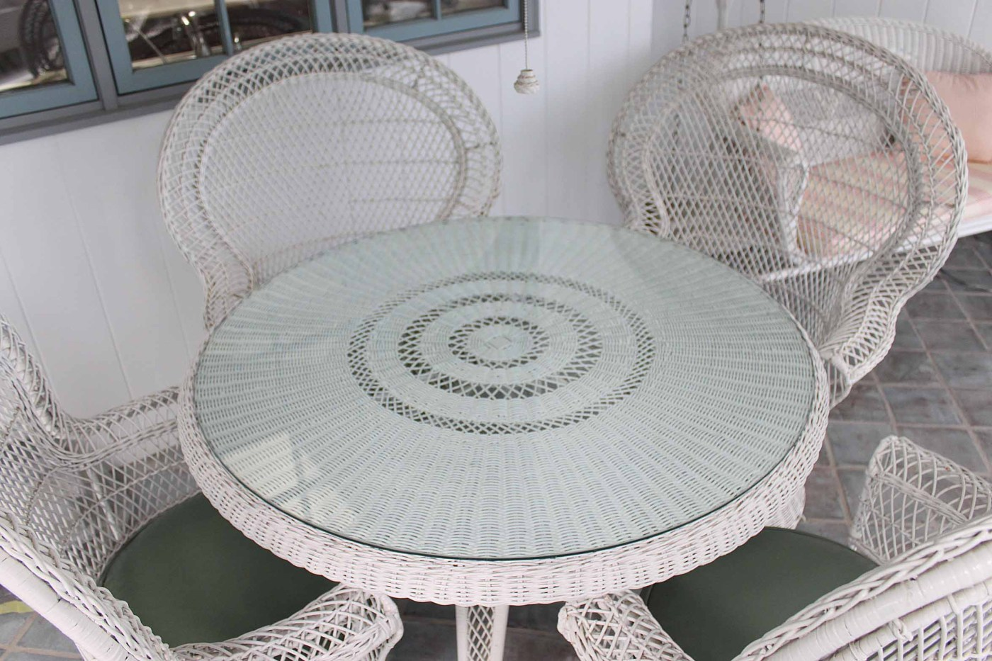 Vintage White Wicker Patio Chairs Table And Lantern Ebth