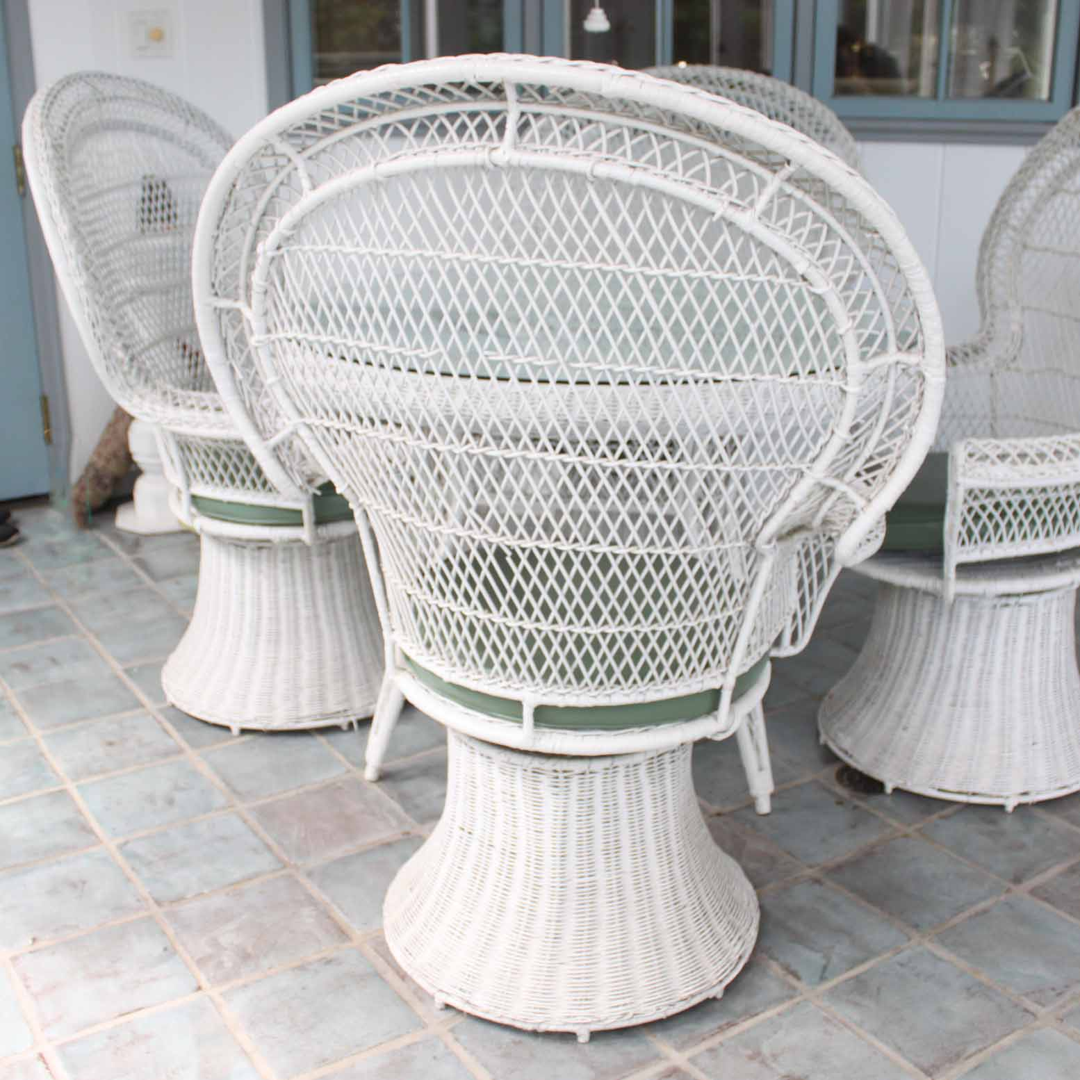 white wicker chairs and table 2 vintage patio lantern ebth