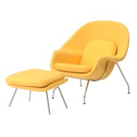 Contemporary Yellow Womb Chair with Ottoman : EBTH