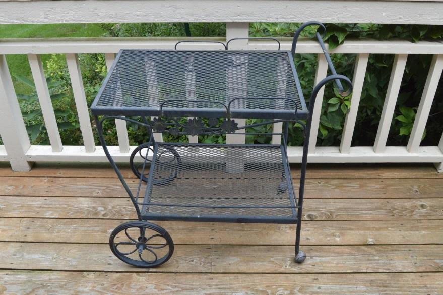 Russell Woodard Style Wrought Iron Garden Serving Cart Ebth