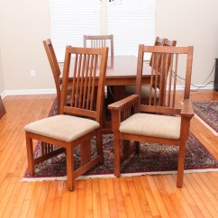 Bassett Furniture Chairs Chair Covers Christmas Tree Store Mission Style Oak Dining Table And