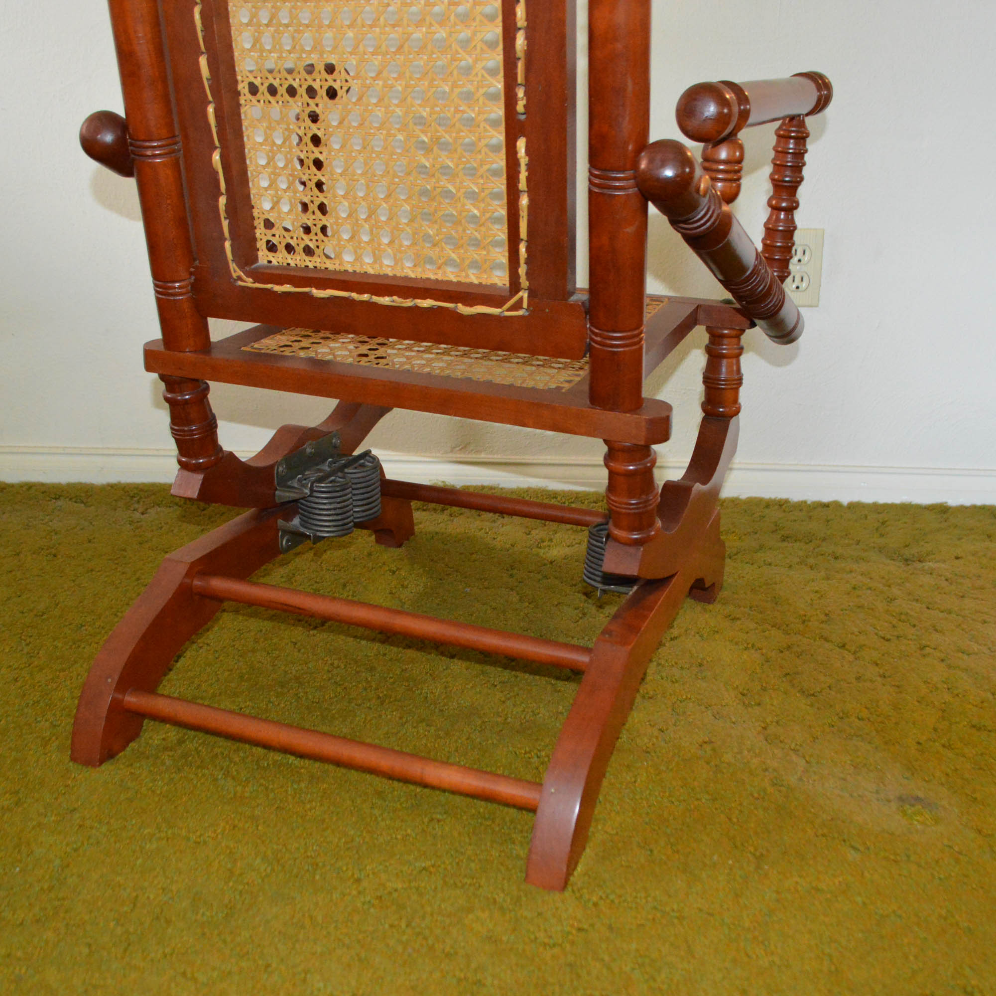 antique platform rocking chair with springs small club chairs leather vintage victorian style rocker ebth