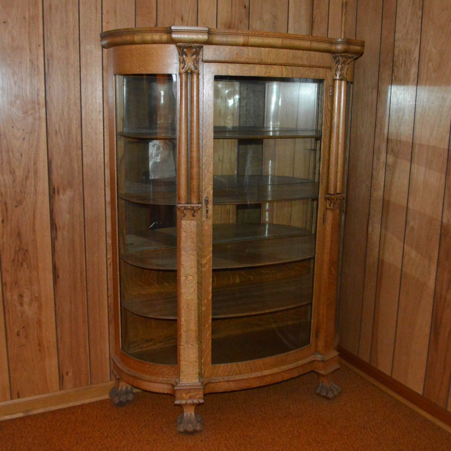 Antique Victorian Quartersawn Oak And Glass Bowfront Curio