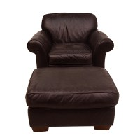Brown Leather Club Chair and Ottoman by Bauhaus : EBTH