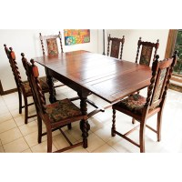 Spanish Revival Style Dining Table and Six Chairs : EBTH
